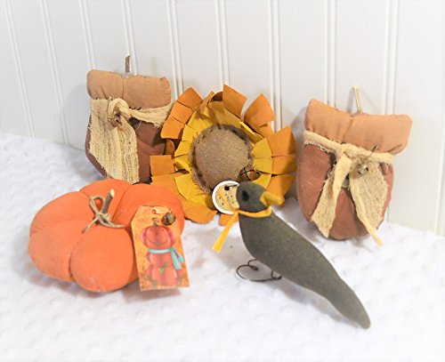Primitive Grungy Fall Halloween Decorations with Pumpkin Black Crow Sunflower (Primitive Fall Halloween Decorations)