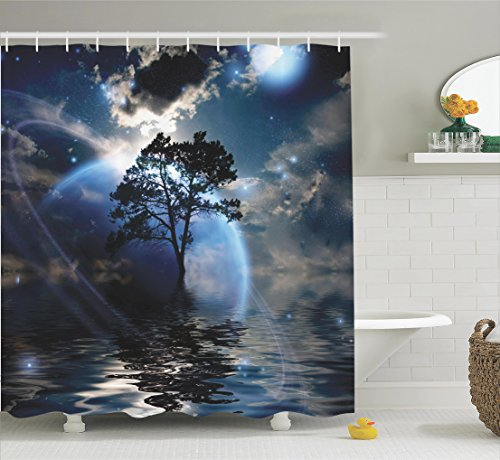 Ambesonne Fantasy House Decor Collection, Waterscape Night View Dark Clouds Stars Moonlight Skylights Rays Tree Reflections on Sea, Polyester Fabric Bathroom Shower Curtain Set with Hooks, Navy