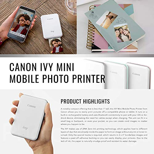 Canon Ivy Mini Mobile Photo Printer (Rose Gold) with Canon 2 x 3 Zink Photo Paper (50 Sheets) and Hard Shell Case Deluxe Bundle by Canon (Image #1)