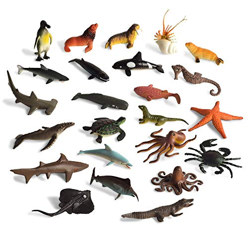 - BOHS Assorted Sea Animals Ocean Marine Life Creatures Toy Figures Collection:Shark.Dolphin.Turtles.Crab etc.(24 Pcs)