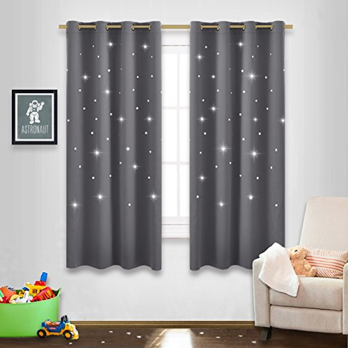 Silver Unique Laser (Gray Stars Kids Room Curtains - NICETOWN Naptime Essential Nursery Window Curtains for Kid's Room, Bedroom Blackout Curtain Panels with Die-cut Stars (2 Panels, W52 x L63-Inch, Grey))