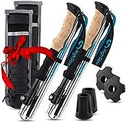 Foldable Hiking & Trekking Poles, 2 Lightweight Collapsible Walking Sticks, Adjustable Quick Lock Folding