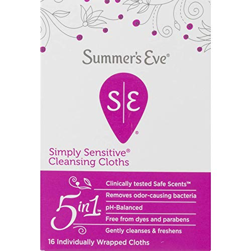 51pStK97MoL - Summer's Eve Cleansing Cloths | Simply Sensitive |16 Count | Pack of 3 | pH-Balanced, Dermatologist & Gynecologist Tested