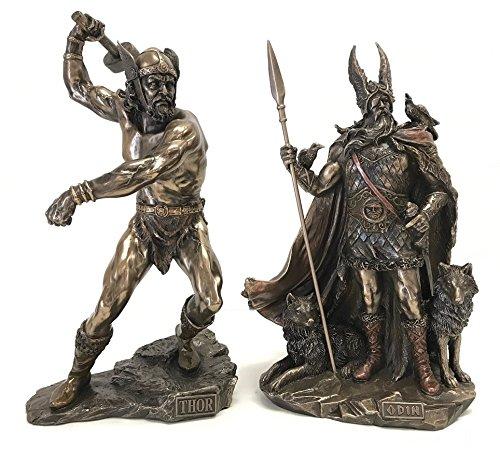 Norse Gods Odin & Thor Bronze Finish Statue Set