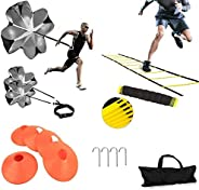 XINXIANG Speed AgilityTraining Kit-Includes Agility Ladder, 5 Round Training Cones,Resistance Parachute, 4 met