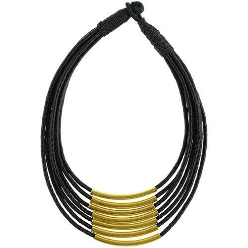 Tubes Chic-Net laiton chaîne pliés fil de soie noire nickel multicouche gratuits 46 cm en laiton antique tribal