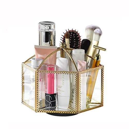 Bags Cosmetic Display Cases Cosmetic Organizer Cosmetics Storage Box Lipstick Storage Box Glass Rotating Storage Rack Cases (Color : Clear-Gold, Size : 19.719.716cm) - Glasses 719
