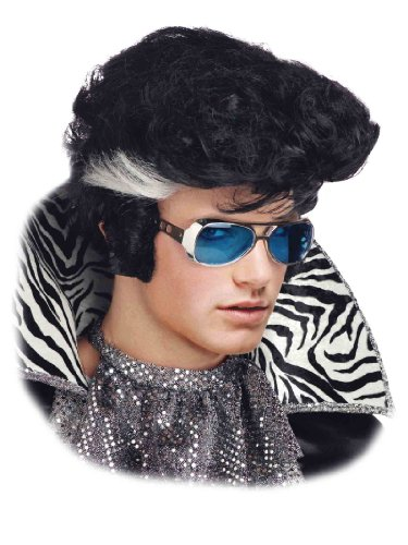 Short Black Wig Vegas Rock and Roll Style 50's 60's Theatrical Mens Costume