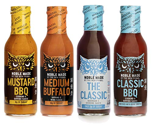 Noble Made by The New Primal Dipping Sauce Variety Pack with Classic Marinade, Medium Buffalo, Classic BBQ, and Mustard BBQ, Pack of 4 (Mustard Buffalo)