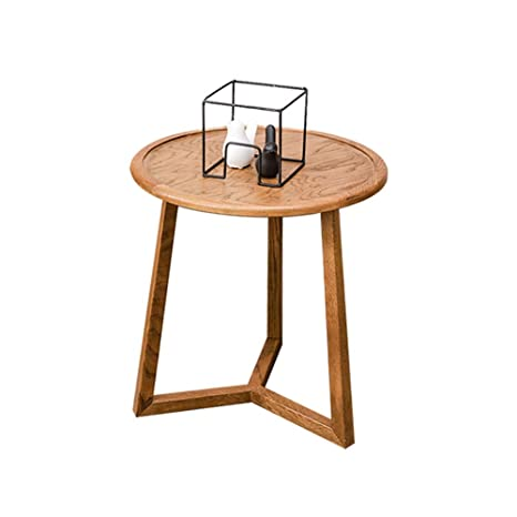 LJHA bianzhuo Mesa auxiliar, Mesa redonda pequeña de madera ...