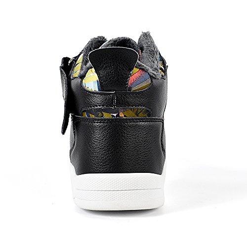 QANSI Herrenmode High Top Leder Street Sneakers Sport Freizeitschuhe Mit Klettverschluss Grau / Rot