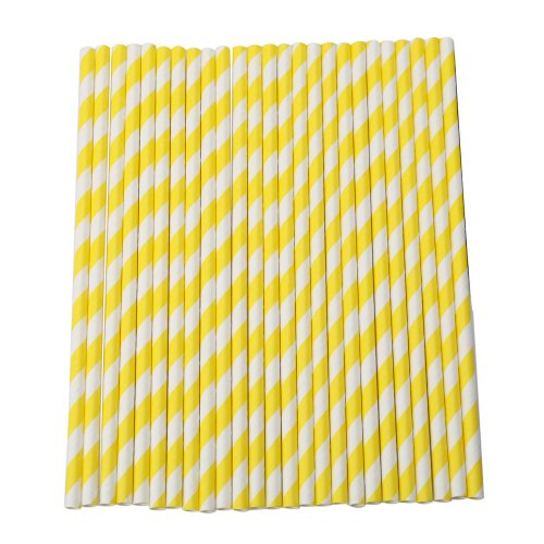 Pack of 25 Striped Drinking Paper Straws for Wedding Birthday Party (Yellow)