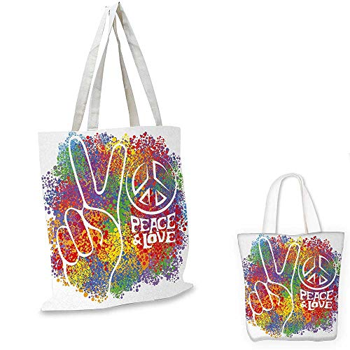70s Party small clear shopping bag Hippie Peace and Love Symbol and Signs Two Fingers Pacifist Colorful Design Art sloth shopping bag Multicolor. 16
