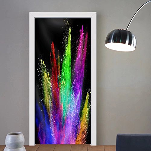 Gzhihine custom made 3d door stickers Explosion of Colored Powder Isolated on Black Background. Power and Art Concept Fabric Home Decor For Room Decor 30x79 by Gzhihine (Image #6)