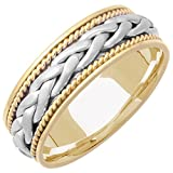 14K Two Tone Gold Braided French Braid Men's Comfort Fit Wedding Band (7mm)