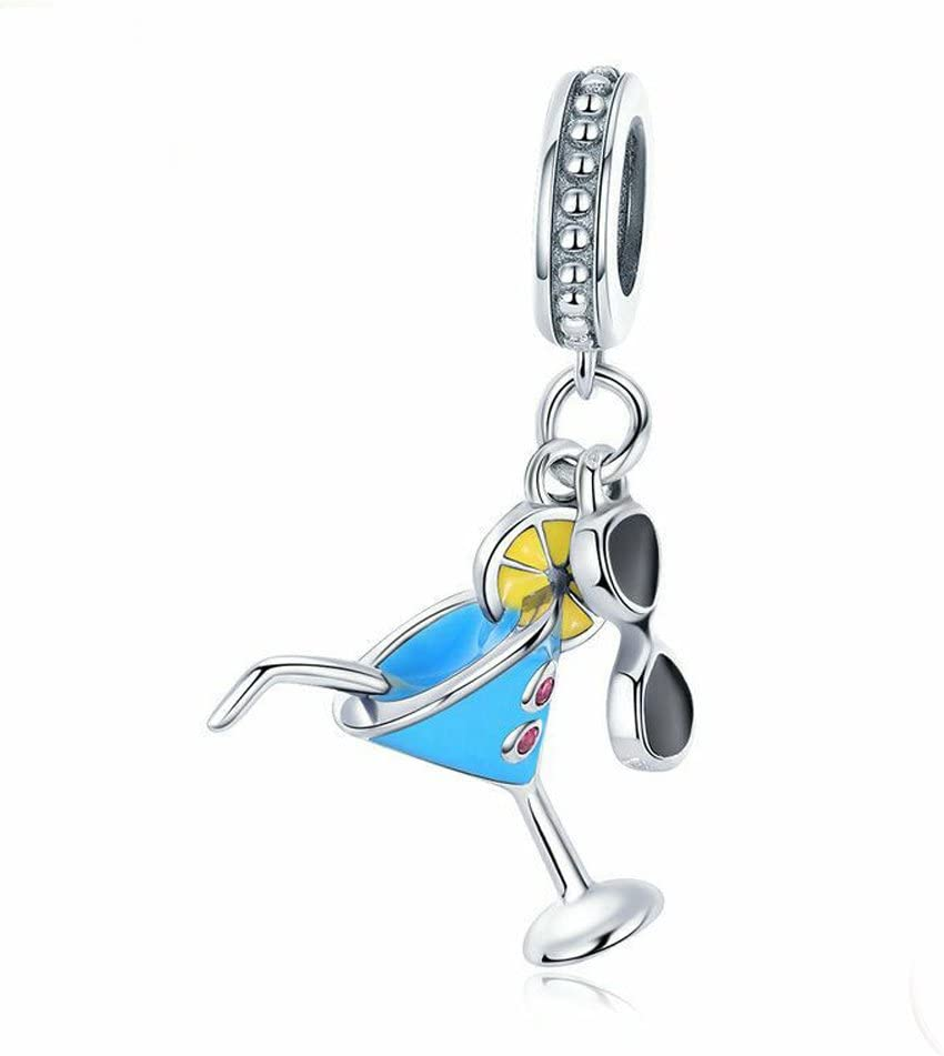 A Summer Cold Drink & Sunglasses Charm 925 Sterling Silver Lemon Charm Wine Glass Charm Beads for Fashion Charms Bracelet & Necklace