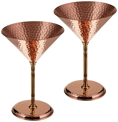 2 X CopperBull Gorgeous Hammered Copper Martini Goblets Glasses, 10 Ounces (Unlined Copper ) by