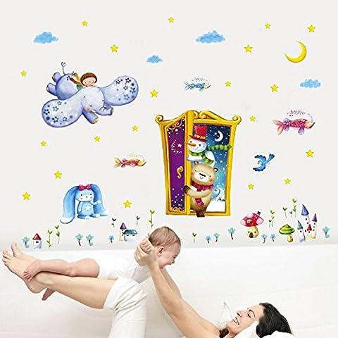 Owill Fairy Tale Magic Door Sticker Children Room Bedroom Cartoon Wallpaper (A, Multicolor) (Tale Light Tint)