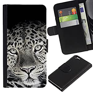 iKiki Tech / Cartera Funda Carcasa - Cute Lovely Leopard Fur Pattern Black White - Apple iPhone 6 4.7