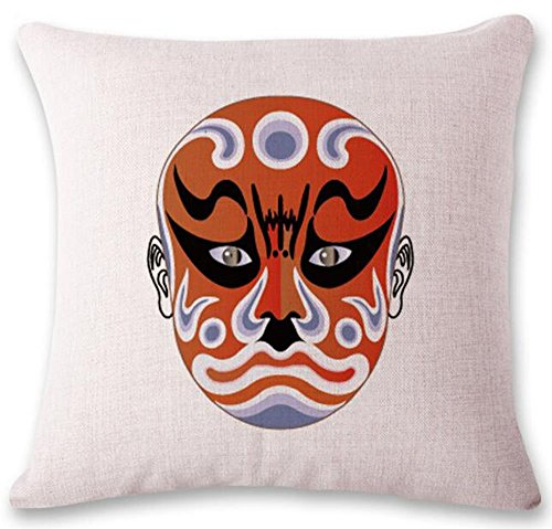 Rdfdads Chinese culture Beijing opera Color mask Cotton Linen Throw Pillow Case Cushion Cover Home Sofa Decorative 20x20 inch (Masks Chinese Opera Design)