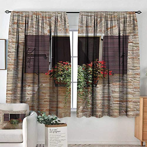 (All of better Tuscan Patterned Drape for Glass Door Antique Looking Window on an Ancient Stone Wall with Flowers Pienza Tuscany Picture Customized Curtains 63
