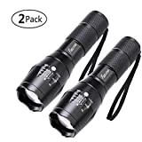2 Pack One Mode Led Flashlights, Super Bright 1000 Lumen Zoomable Water Resistant