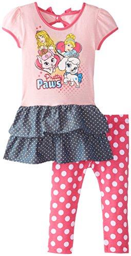 Disney Girls' 2 Piece Princess Legging Set, Pink, 6
