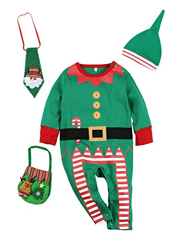 4PCS Christmas Outfit Set Baby Boys Girls Funny Elf Costume Newborn Romper (6-12 Months) (Toddler Elf Outfit)