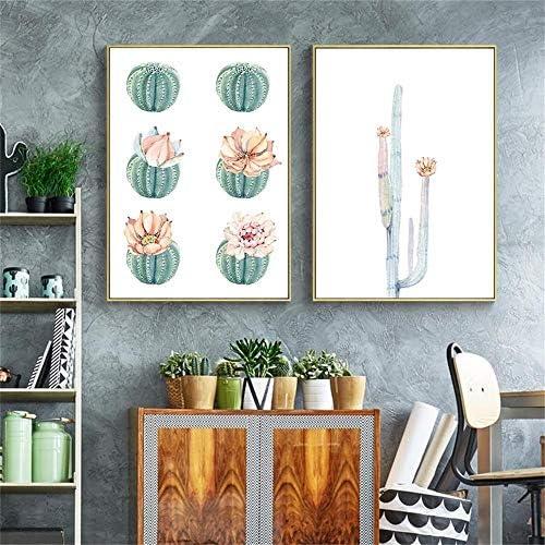 サボテン植物花アートキャンバスウォールプリントポスター北欧抽象リビングルームの壁の写真ホームデコレーション-40x50cmx3個フレームなし