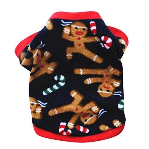 Bestanx Pet Christmas Costume Dog Puppy Doggie Warm Fleece Coat Winter Clothes Apparel Sweater Teddy Chihuahua Poodle Turmeric Villain Black (Doggie Christmas)