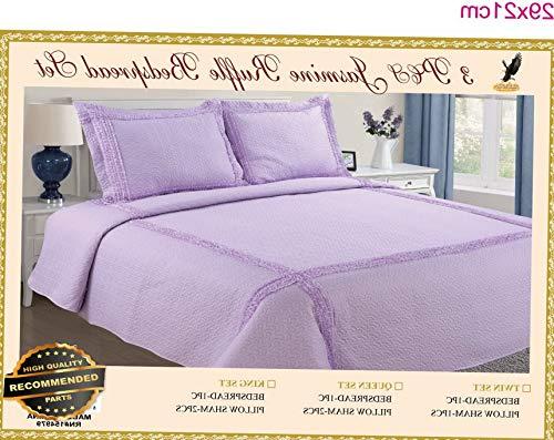 Werrox 2 Piece Ultra Soft Jasmine Ruffle Bedding Bedspread Coverlet Quilt Set Twin Size | Quilt Style QLTR-291267556