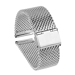 Beauty7 Heavy 18-24mm Stainless Steel Mesh Watch Band Bracelet Strap Replacement Adjustable Buckle