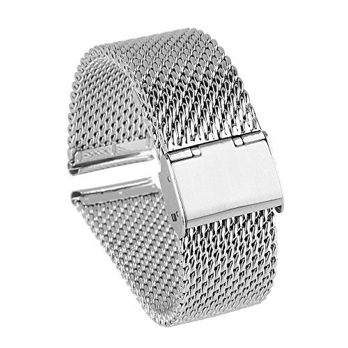 Beauty7 Heavy 22mm Stainless Steel Mesh Watch Band For Pebble Time Steel/ ZenWatch/Samsung Gear 2/G Watch