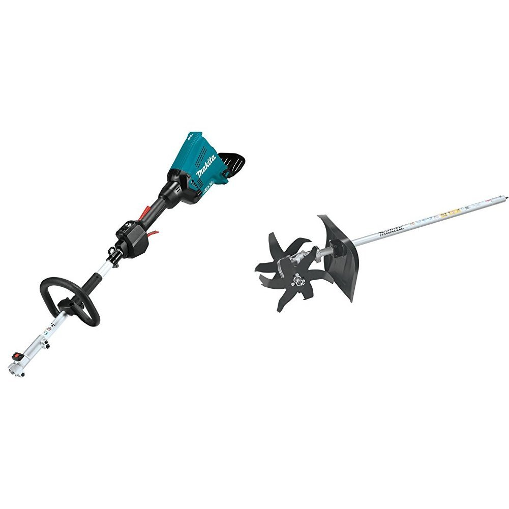 Makita XUX01Z 18V X2 (36V) LXT Lithium-Ion Brushless Cordless Couple Shaft Power Head, Tool Only with KR400MP Cultivator Couple Shaft Attachment