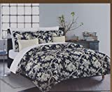 Nicole Miller King Quilt Duvet Cover Set 3 pc Floral Vines Jacobean Bohemian Blue White Lavendar 300 thread count Cotton Bedding