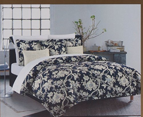 Nicole Miller King Quilt Duvet Cover Set 3 pc Floral Vines Jacobean Bohemian Blue White Lavendar 300 thread count Cotton Bedding ()