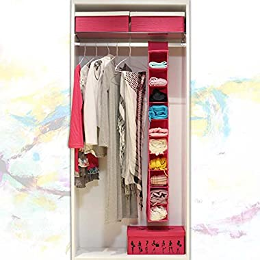 10-Shelf Hanging Closet Organizer Friendly Closet Cubby, for Clothes Storage and Accessories & Handbag Organizer, Shoe, Toys - Keep Your Wardrobe in order (10 Pocket)