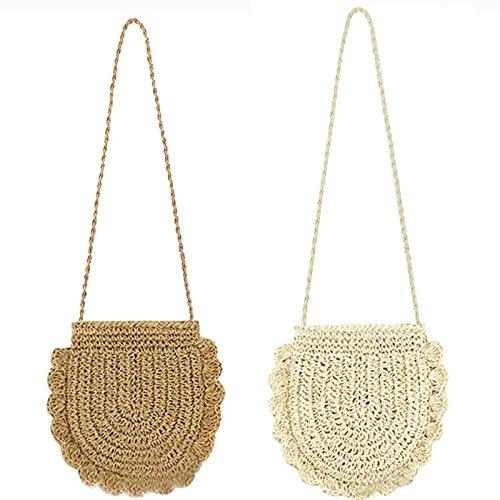 Donalworld Women Beach Bag Round Straw Crochet Shoulder Summer Bag Purse S Shlcf by Donalworld (Image #3)