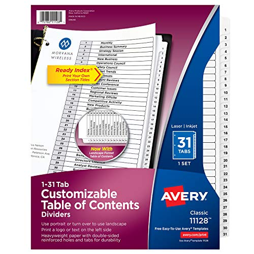 Avery Ready Index Classic Tab Titles, 31-Tab, 1-31, 8.5 X 11 Inches, Black/White, 31 per Set (11128) (Numbered Tabs 31)