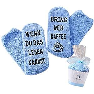 Geschenk für Frauen, WENN DU DAS LESEN KANNST BRING MIR WEIN / KAFFEE / SCHOKI / BUCH SOCKEN, witziges…