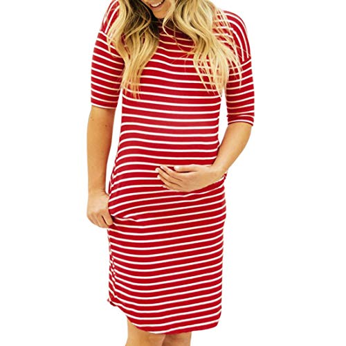 Women Maternity Dress Striped Ruched Fitted Short Sleeve Casual Midi Knee Length Dress (M, Red)