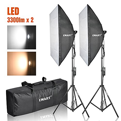 Emart Photography Softbox Lighting Kit, Photo Equipment Studio Softbox 20'' x 27'', 45W Dimmable LED with Double Color Temperature for Portrait Video and Shooting by EMART