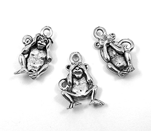 Set of Three (3) Pewter 3 Wise Monkeys Charms