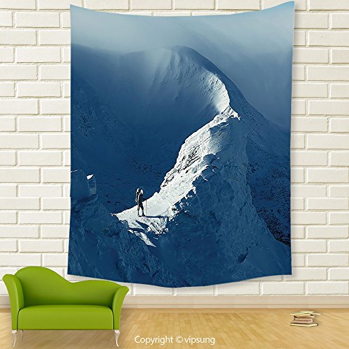 Vipsung House Decor Tapestry_Decorations Sunny Day In The Mountains Tourist Standing On A Rock Climber Adventurous Lifestyle Decor_Wall Hanging For Bedroom Living Room Dorm