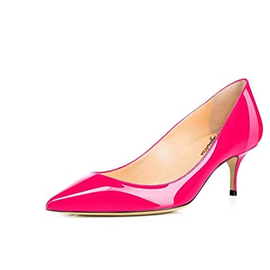 82d42abc11b4e Maguidern Women's Multicolour Patent Leather Pointed Toe 2 1/2 inches  Mid-Heels Working Pumps Evening Party Stiletto Shoes Plus Size