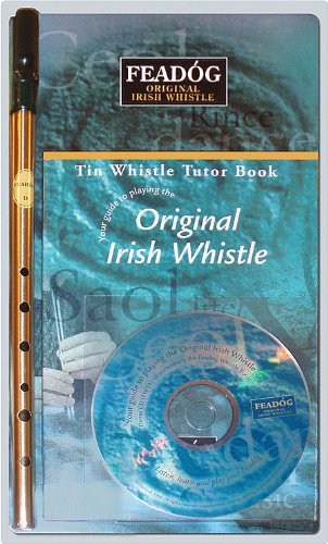 Feadog Brass Irish Penny Whistle triple Pack (Whistle, Book & CD) - Key of D Feadog @ 1to1Music