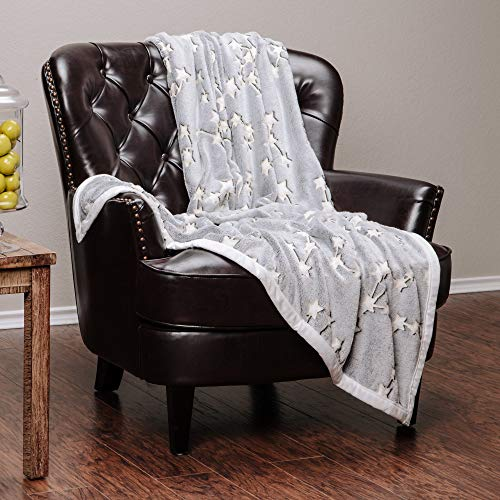 Chanasya Super Soft Luminious Glow in The Dark Lucky Stars Print Two Color Tone Throw Blanket| Featuring Connected Lucky Starts to Bring Luck Joy and Harmony Blanket for Bed Couch Chair - Grey ()