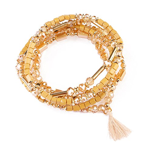RIAH FASHION Bohemian Multi-Layer Sparkly Crystal Bead Charm Bracelet - Stretch Strand Stackable Bangle Set Tassel/Coin/Acrylic Druzy/Lava Diffuser Crescent (Tassel - Light Brown)