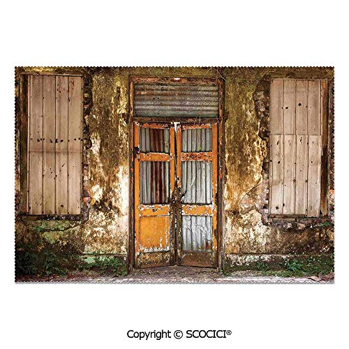 SCOCICI Set of 6 Heat Resistant Non-Slip Table Mats Placemats Damaged Shabby House with Boarded Up Rusty Doors and Mold Windows Home Decor for Dining Kitchen Table Decor -