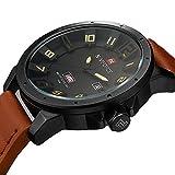 NAVIFORCE Original Genuine Leather Quartz Date Week Waterproof Sport Men Watch 9061 Brown Black